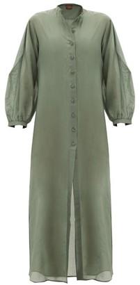 ALBUS LUMEN Levitas Balloon-sleeve Cotton-blend Maxi Dress - Womens - Green