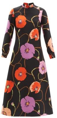 Gucci X Ken Scott Floral-print Silk-blend Dress - Black Multi