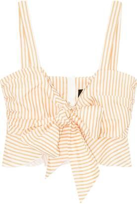 Nicholas Cropped Striped Cotton And Silk-blend Poplin Top