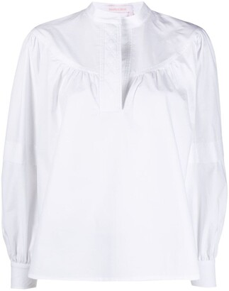 See by Chloe Cotton Collarless Blouse