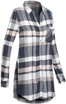 Hot From Hollywood Women's Long Sleeve Plaid Tunic Shirt with Split Sides