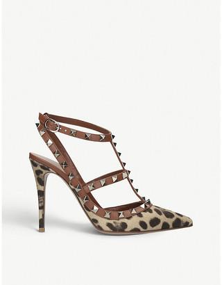 Valentino Rockstud 100 leopard-print leather heeled sandals