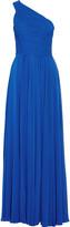 Halston One-shoulder chiffon gown