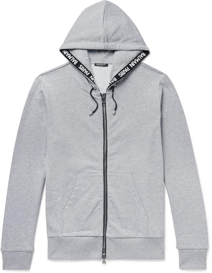 Balmain Logo-Jacquard Loopback Cotton-Jersey Zip-Up Hoodie - Men - Gray