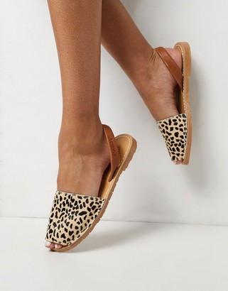 Solillas leopard print leather Menorcan sandals