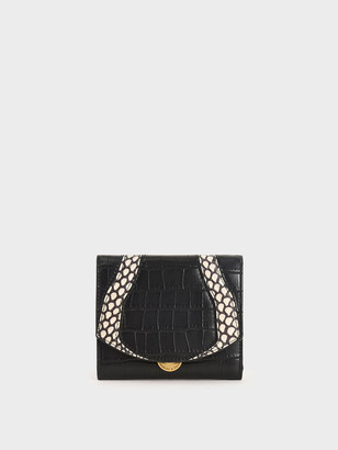 Charles & Keith Croc-Effect Push-Lock Mini Wallet