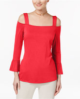 INC International Concepts Petite Cold-Shoulder Top