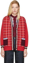 Miu Miu Red Oversized Windowpane Cardigan