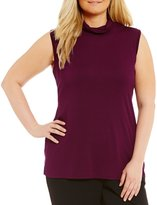 Allison Daley Plus Turtle Neck Sleeveless Knit Top