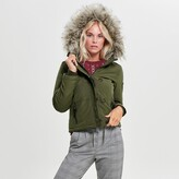 Only Cropped Parka with Faux Fur Hood and Pockets