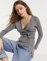 Thumbnail for your product : New Look co-ord wrap top in mid grey