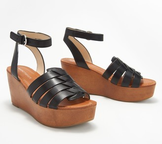 Marc Fisher Woven Leather Wedges with Ankle Strap - Pastya