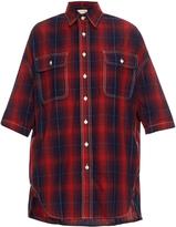 R 13 X-Oversized cotton and linen-blend plaid shirt