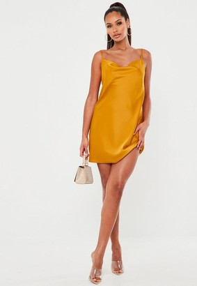Missguided Orange Satin Cowl Cami Slip Mini Dress