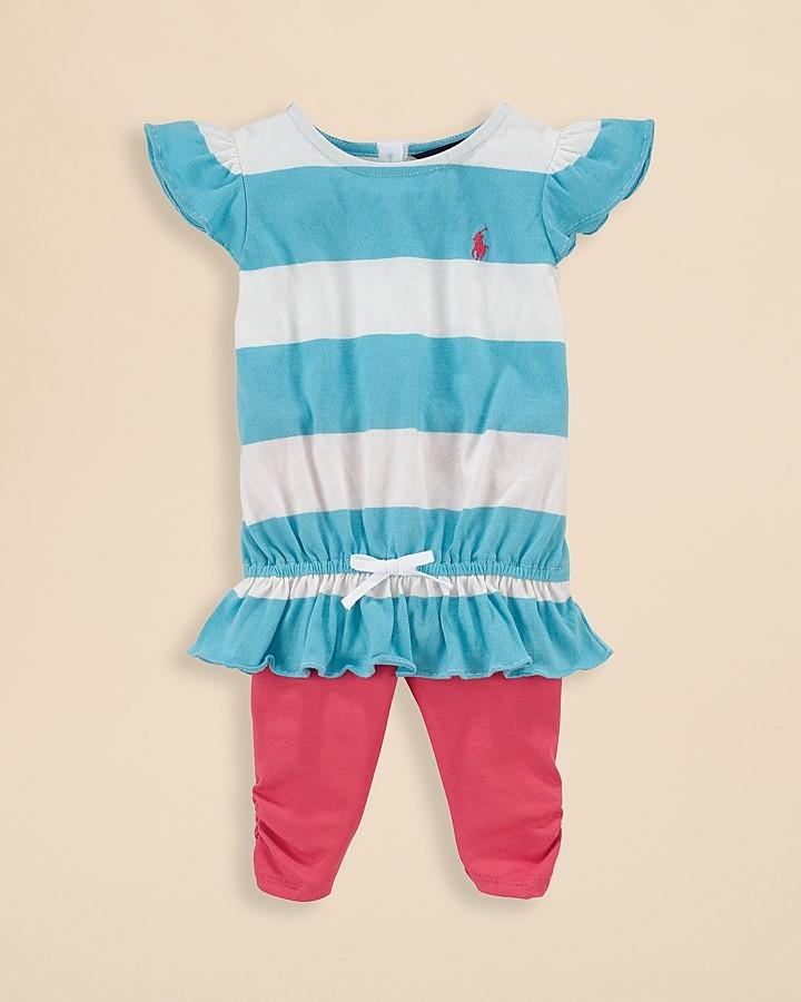 Ralph Lauren Infant Girls' Flutter Sleeve Top & Legging Set - Sizes 9-24 Months