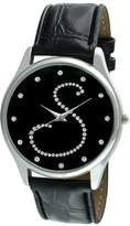 "Viva Women's V1650B-S Silver Tone Round Crystal Dial Initial ""S"" Strap Watch"