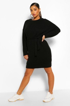 boohoo Plus Waffle Knitted Self Belt Sweater Dress