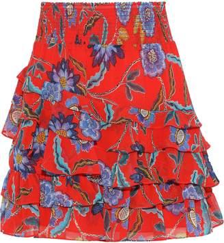 Rebecca Minkoff Lila Tiered Floral-print Crepe De Chine Mini Skirt