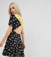 Asos Open Back Skater Dress In Mix And Match Print