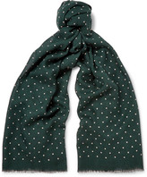 J.Crew Polka-dot Wool And Silk-blend Scarf - Dark green