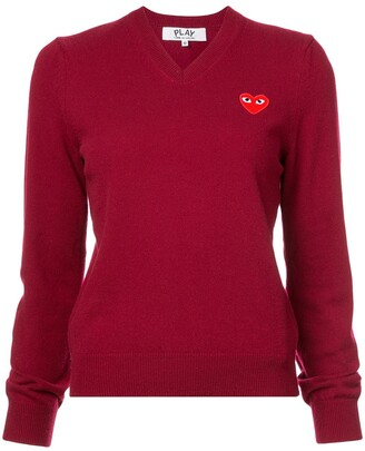 Comme des Garcons V-Neck Heart Embroidered Sweater