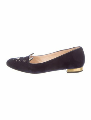 Charlotte Olympia Embroidered Accent Loafers Blue