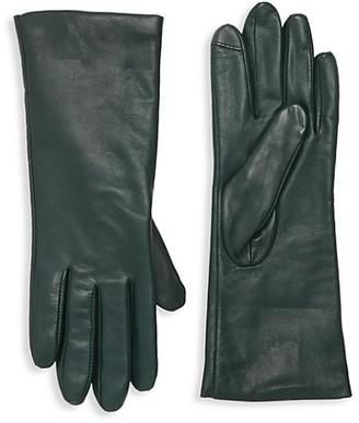 Saks Fifth Avenue Polished Leather Cashmere Lined Tech Gloves