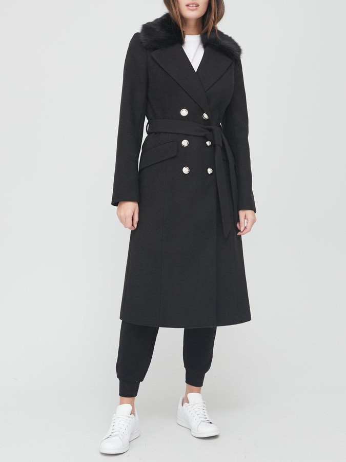 Thumbnail for your product : Very Long Military Coat With Faux Fur Collar - Black