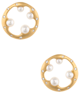 Mikimoto Vintage 18K Yellow Gold, Pearl & 0.20 Total Ct. Diamond Earrings
