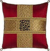 """Sweet Dreams Marrakesh Beaded Silk Pillow with Leopard Center, 15""""Sq."""