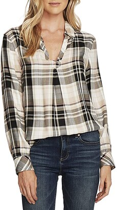 Vince Camuto Long Sleeve Frontier Plaid Split-Neck Tunic (Rich Black) Women's Clothing