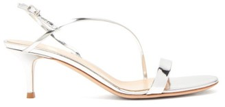 Gianvito Rossi Manhattan 55 Mirrored-leather Sandals - Silver