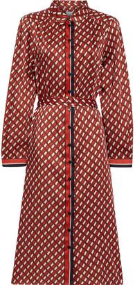Iris & Ink Allegra Belted Printed Satin-twill Midi Shirt Dress
