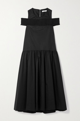 Tibi Cold-shoulder Shirred Cotton-poplin Midi Dress