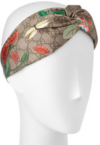 Gucci Tiana Floral Logo Silk Headband, Light Brown