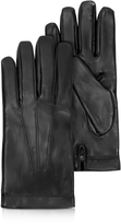 Moreschi Siberia Black Leather Men's Gloves w/Cashmere Lining