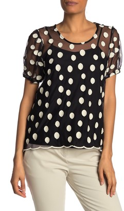 Nanette Lepore Polka Dot Mesh Short Sleeve Top