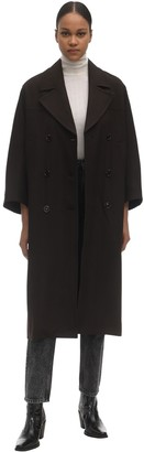 Ganni Double Breasted Viscose Blend Coat