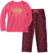 Juicy Couture Pink 'Juicy' Leopard Pajama Set - Girls