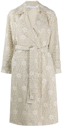 Harris Wharf London Floral Embroidered Trench Coat
