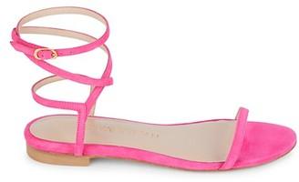 Stuart Weitzman Merinda Ankle-Wrap Suede Sandals