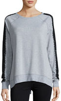 Nanette Lepore Lace-Accented Lace-Up Sweatshirt