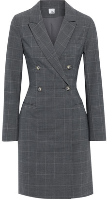 Iris & Ink Amy Double-breasted Checked Cady Dress