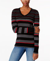 Karen Scott Petite Striped V-Neck Ribbed Sweater, Only at Macy's