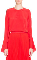Givenchy Bell-Sleeve Jewel-Neck Silk Blouse, Red