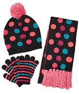 Copper Key Girls Dot-Stripe Hat, Scarf, and Gloves Set
