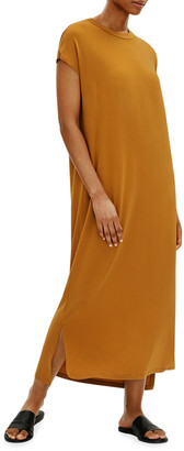 Eileen Fisher Petite Crewneck Viscose Jersey High-Low Dress