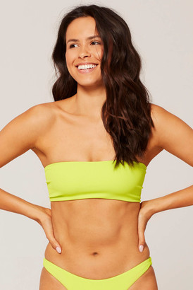 L-Space Ribbed Beach Wave Acid Green Bikini Top Lime M