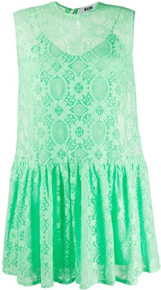 MSGM Lace-Pattern Sleeveless Dress