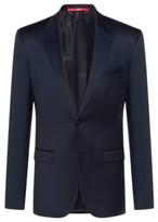 HUGO BOSS - Extra Slim Fit Jacket In Yarn Dyed Virgin Wool - Dark Blue